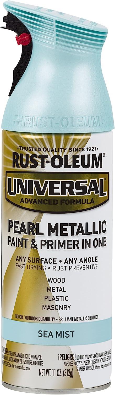 Rust-Oleum AC1213 301551 Universal All Surface Spray Paint 11 oz, Metallic Green Mist, Pearl Sea/Blue
