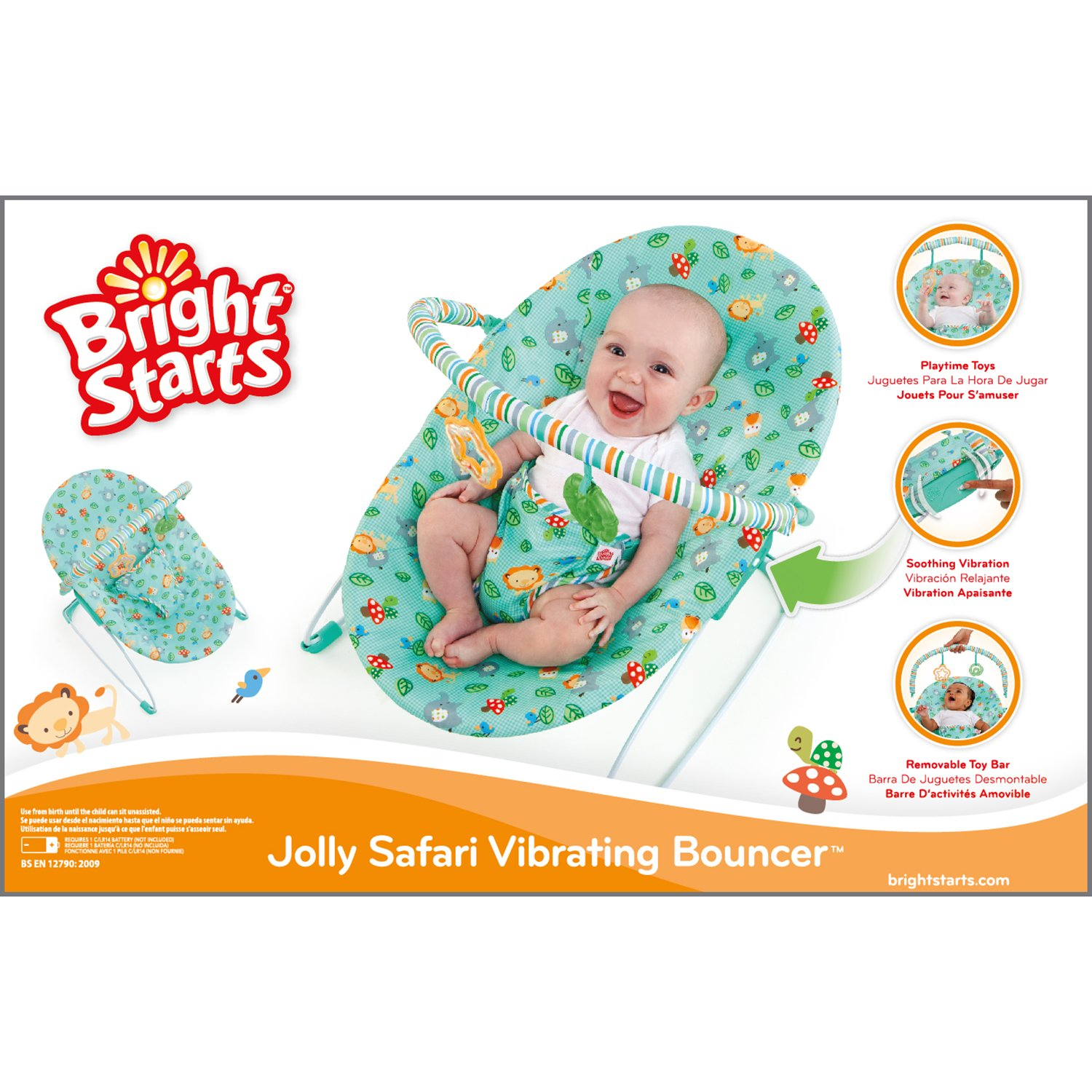2a559fb67834 Amazon.com  Bright Starts Jolly Safari Vibrating Bouncer  Baby