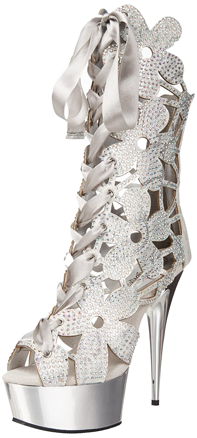 Pleaser Women's Delight-600-36 Platform Bootie B00B471CL4 7 B(M) US|Silver Suede/Silver Chrome