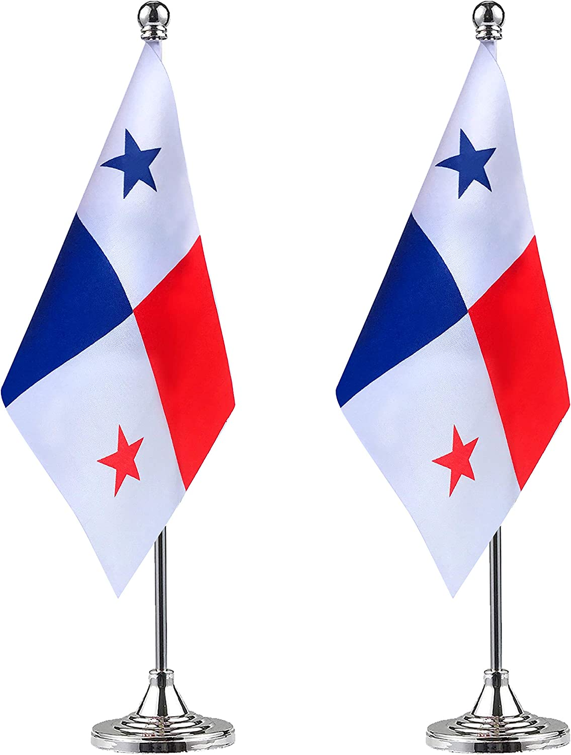 WEITBF Panama Desk Flag Small Mini Panamanian Office Table Flag with Stand Base,Panamanian Themed Party Decorations Celebration Event,2 Pack