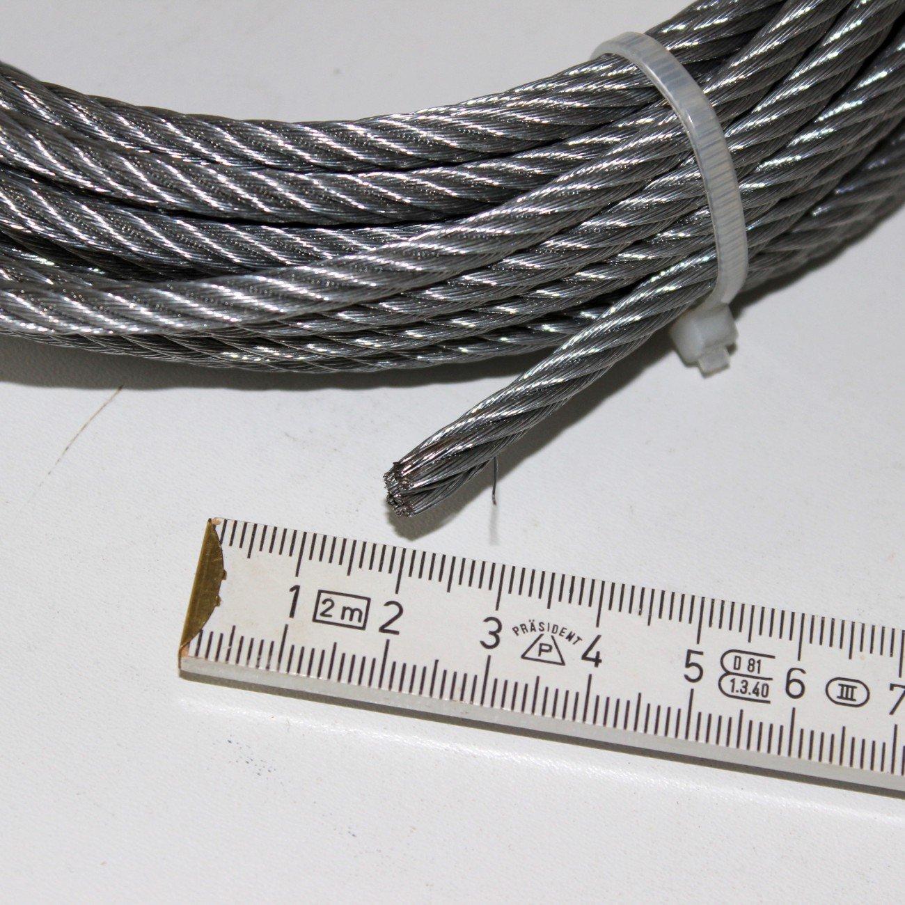 Drahtseil Seil für Seilwinde verzinkt 5 mm stark. Länge 10 Meter ...