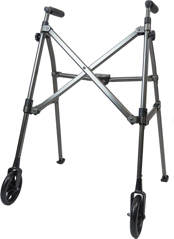 Able Life Space Saver Walker - Lightweight Folding & Height Adjustable Adult Travel Walker for Seniors + Fixed Wheels & Rear Glides - Black Walnut