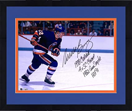 Framed Mike Bossy New York Islanders Autographed 16 quot  x 20 quot   Photograph with Multiple Inscriptions b594a0e08