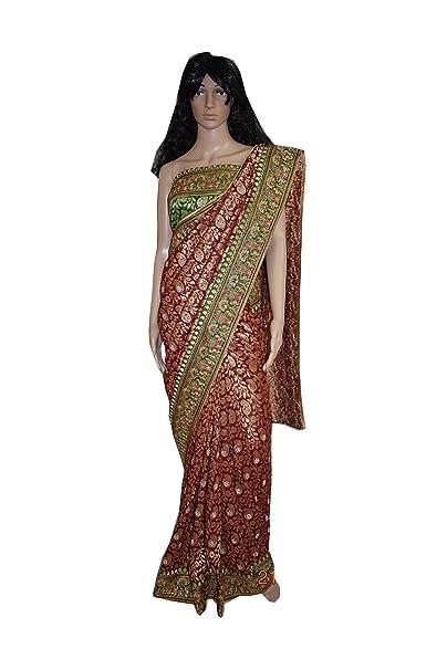 a365fdb24334 fancy designer saree  viscose brocade jal saree  original jarkan  work embroidaried contrast border pallu  Amazon.in  Clothing   Accessories