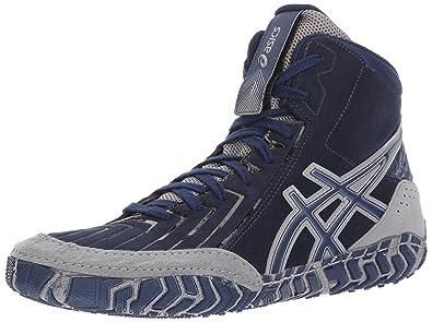 287078eb93e1 ASICS Mens Aggressor 3 Wrestling Shoe Indigo Blue Aluminum