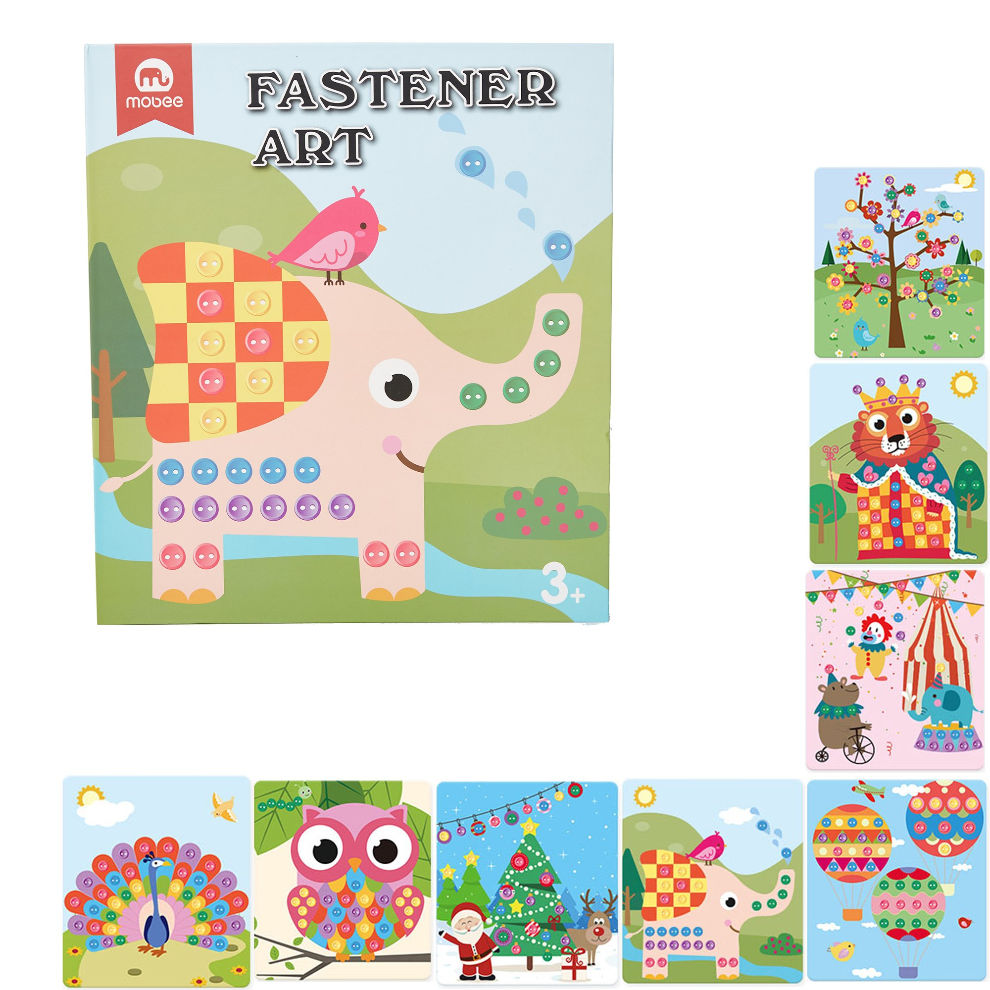 Mobee Button Sticker Mosaic Color Matching Fastener Art with 8 Dot Markers and 6 Fasteners Kids DIY Creative Crafts Kits Learning Educational Toys for Toddlers