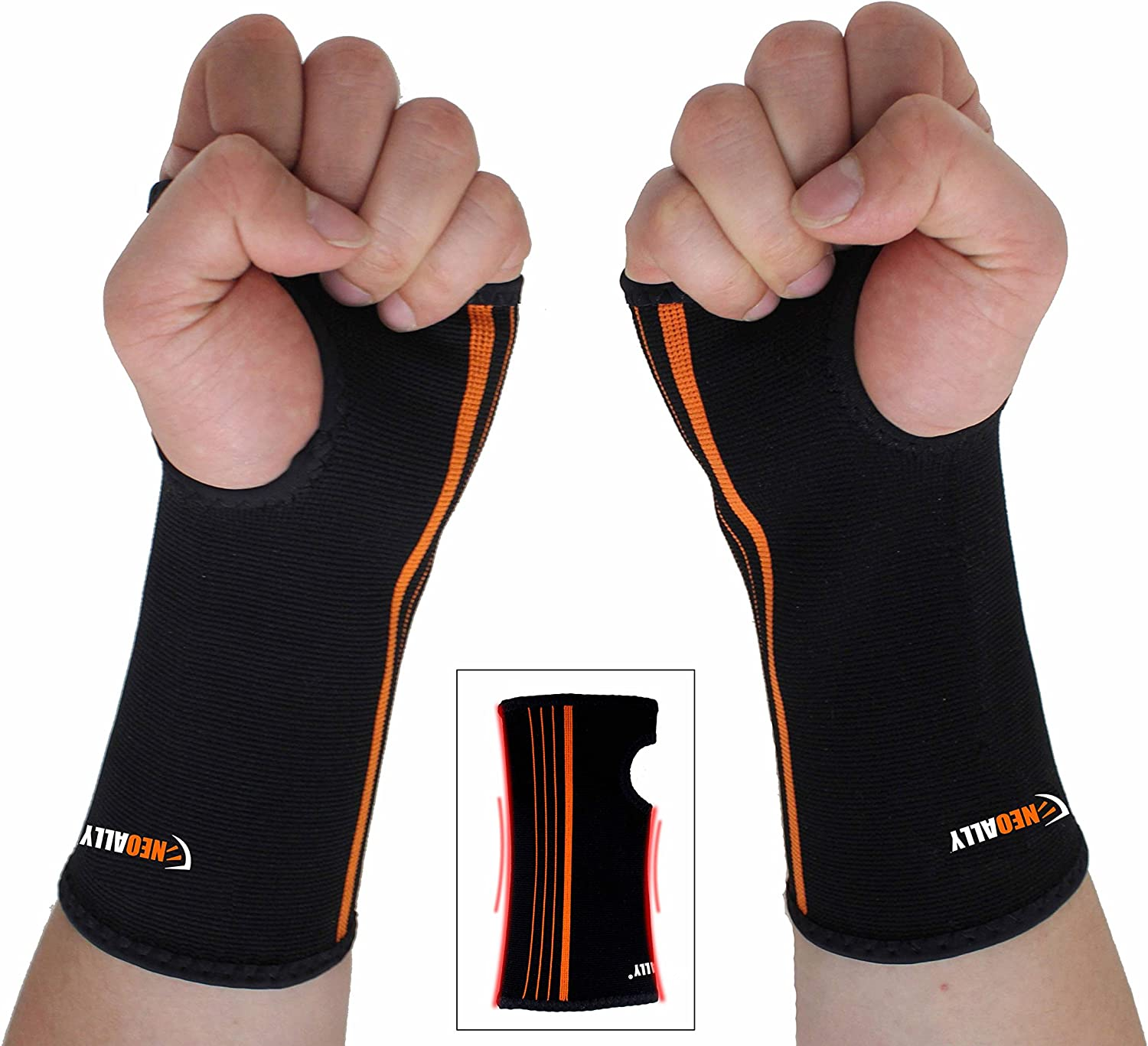 NeoAlly Wrist and Forearm Compression Sleeve, Support Brace for Carpal Tunnel, Arthritis, Tendonitis, Bursitis and Wrist Sprain, Small, 2-Pack
