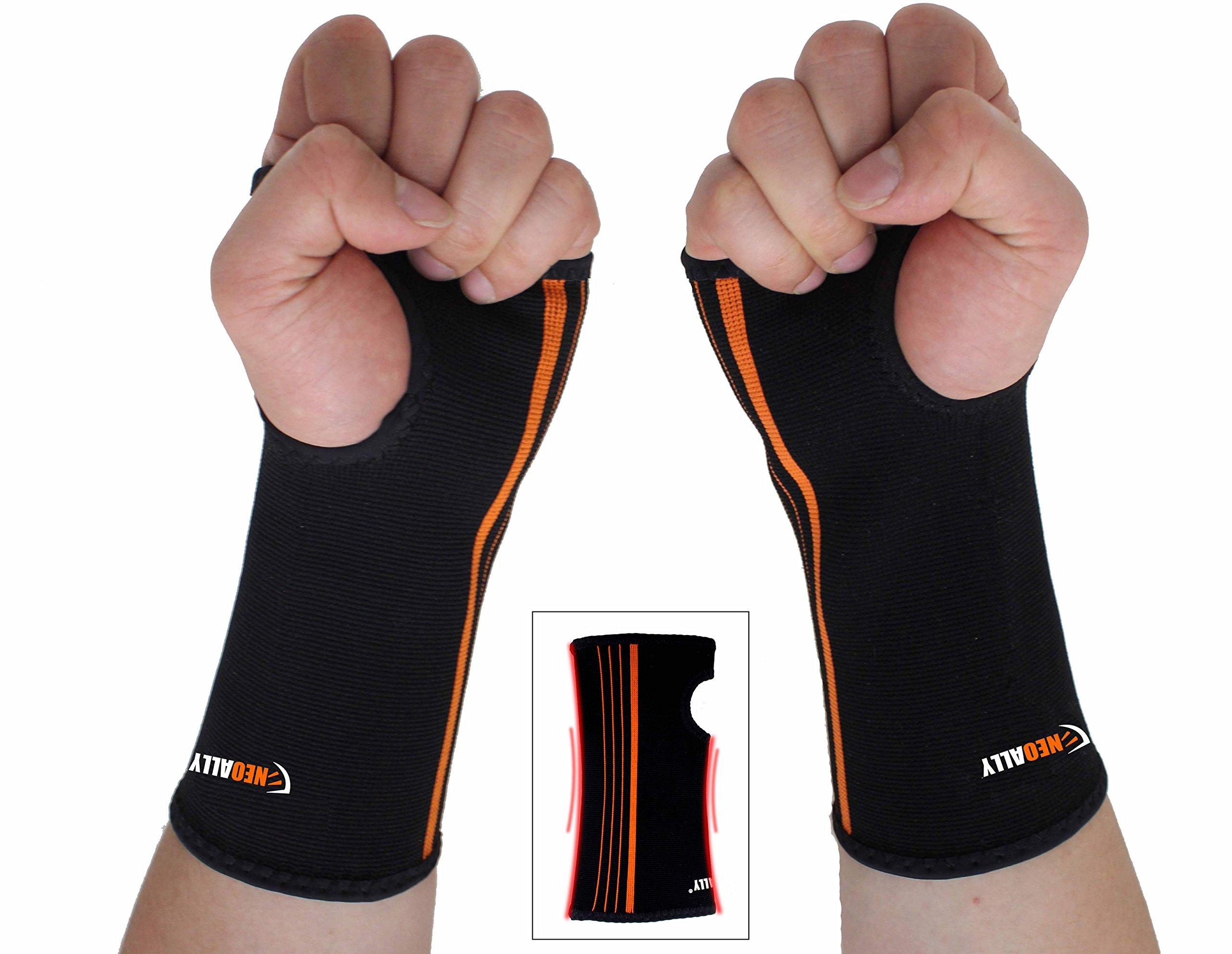 NEOALLY Wrist and Forearm Brace Compression Sleeve for Carpal Tunnel, Arthritis, Tendonitis, Bursitis and Wrist Sprain (Large 2-Pack)