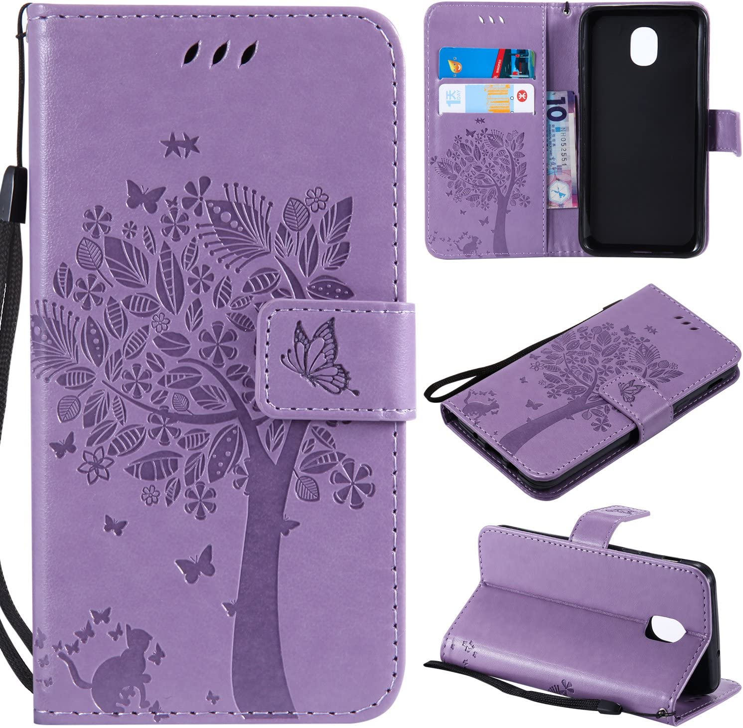 Galaxy J3 2018/J3 V 2018/J337/Express Prime 3/J3 Star/J3 Orbit/J3 Achieve/J3 Prime 2/Amp Prime 3/Sol 3 Case,PU Leather Wallet Embossed Floral Tree Cat Case Kickstand Flip Case Card Holder Light Purple