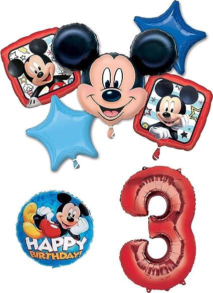 Amazon.com: Mickey Mouse 3er cumpleaños fiesta globo ...