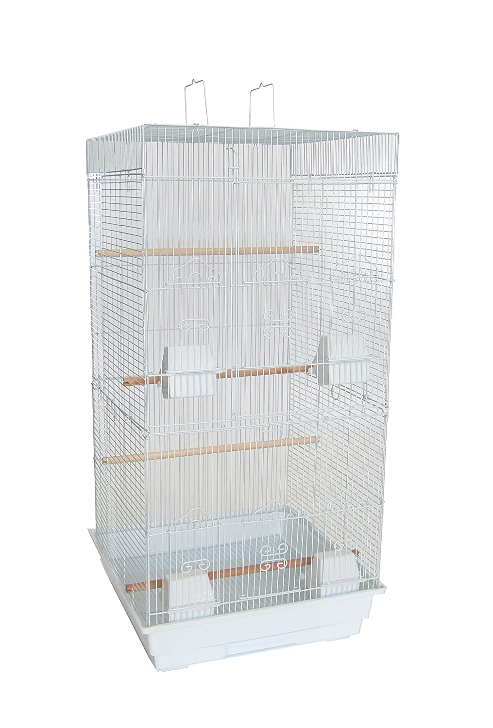 YML A6924 3/8-Inch Bar Spacing Tall Flat Top Small Bird Cage, 18-Inch by 18-Inch, Black A6924BLK