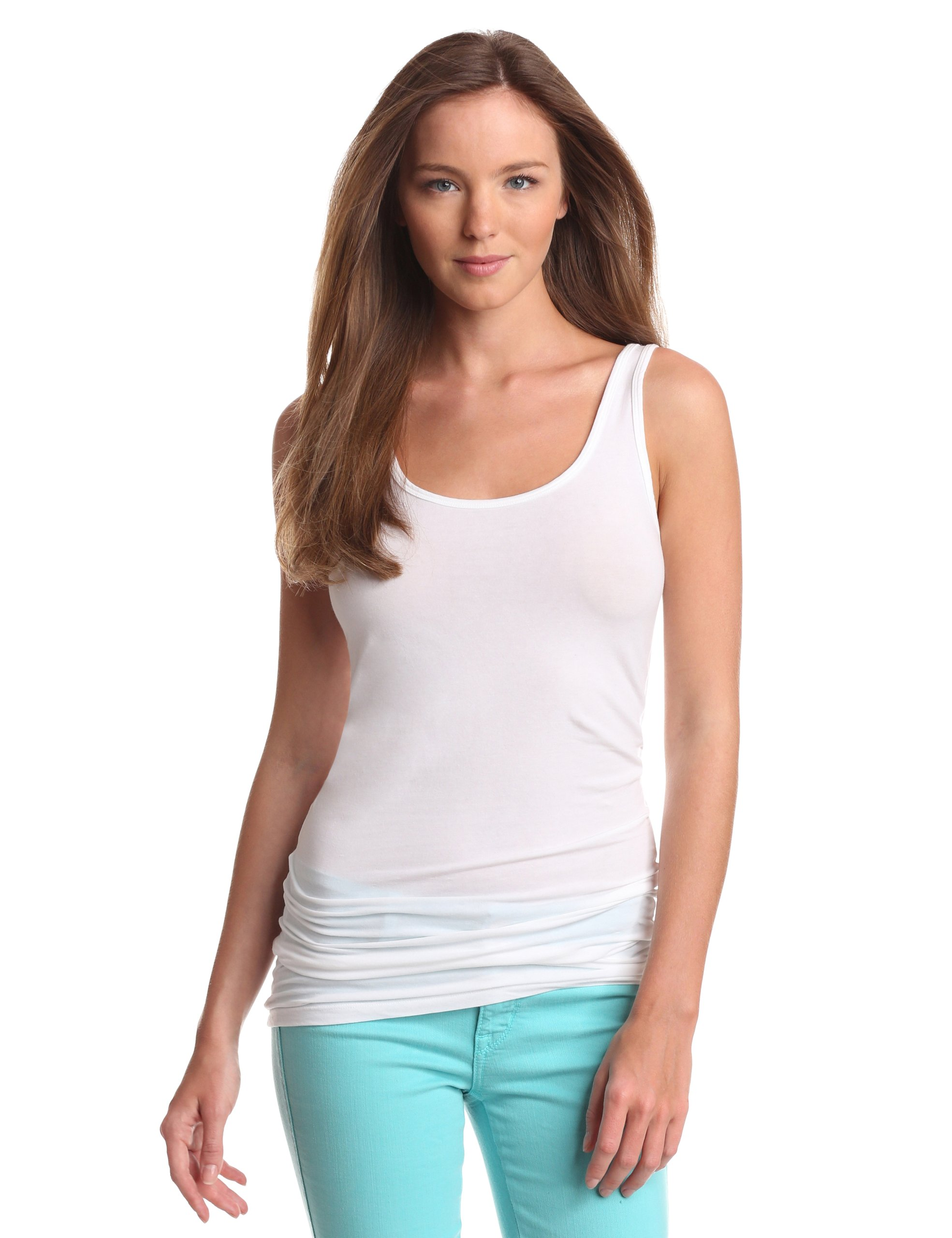 Splendid Women's Long Fitted Layering Tank,White,Large