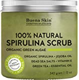 Anti fungal Acne Treatment Spirulina Body Scrub by Buena Skin | 100% Natural, Antibacterial with Green Algae, Dead Sea Salts and Vitamin E 12 oz.
