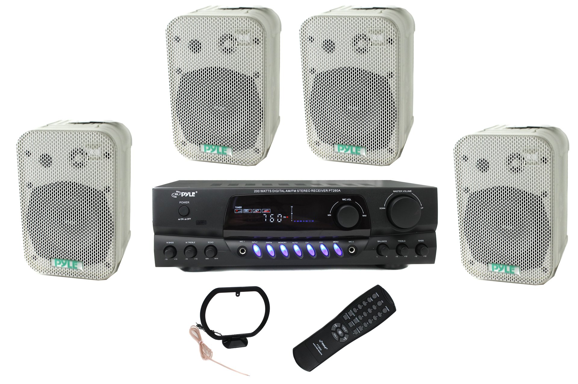 4) Pyle 5.25'' Outdoor Speakers + PT260A 200W Stereo Home Theater Receiver by Pyle