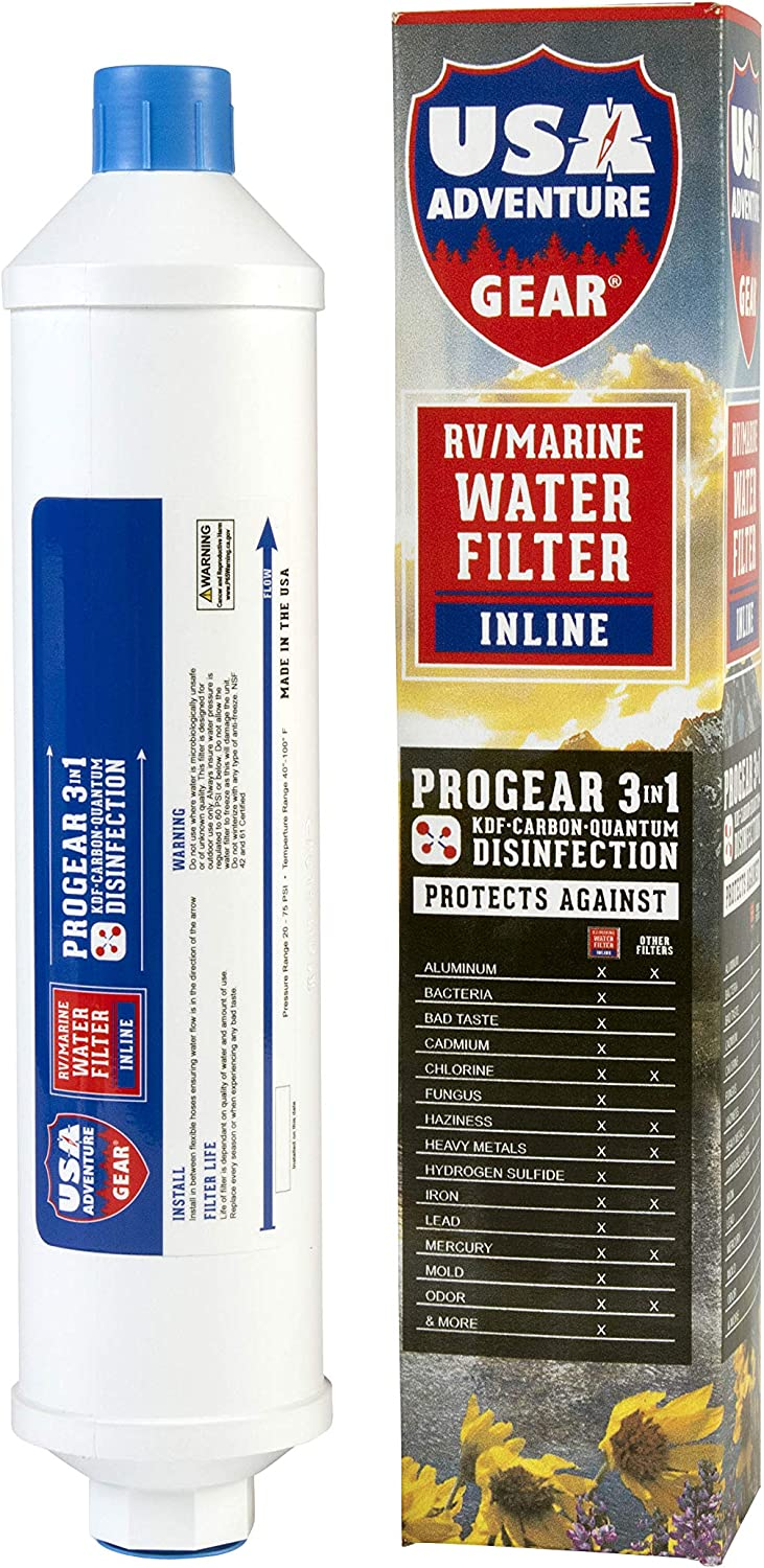 3-Stage RV/MARINE Inline Water Filter | Ultimate Protection | Protects Against Bacteria, Viruses, Chemicals, Lead | Quantum Disinfection, KDF, Activated Carbon Media | Made in the USA | Use for 1 year