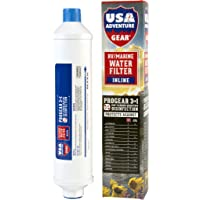 3-Stage RV/Marine XXL Inline Water Filter | Kills Bacteria, Viruses On Contact | Last 4X Longer | Filters Chemicals, Insecticides, Chlorine, Lead | Made in The USA |