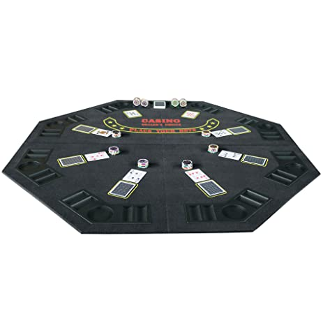 Folding Blackjack / Poker Table Top (48 Inch) Octagon With Cup Holders