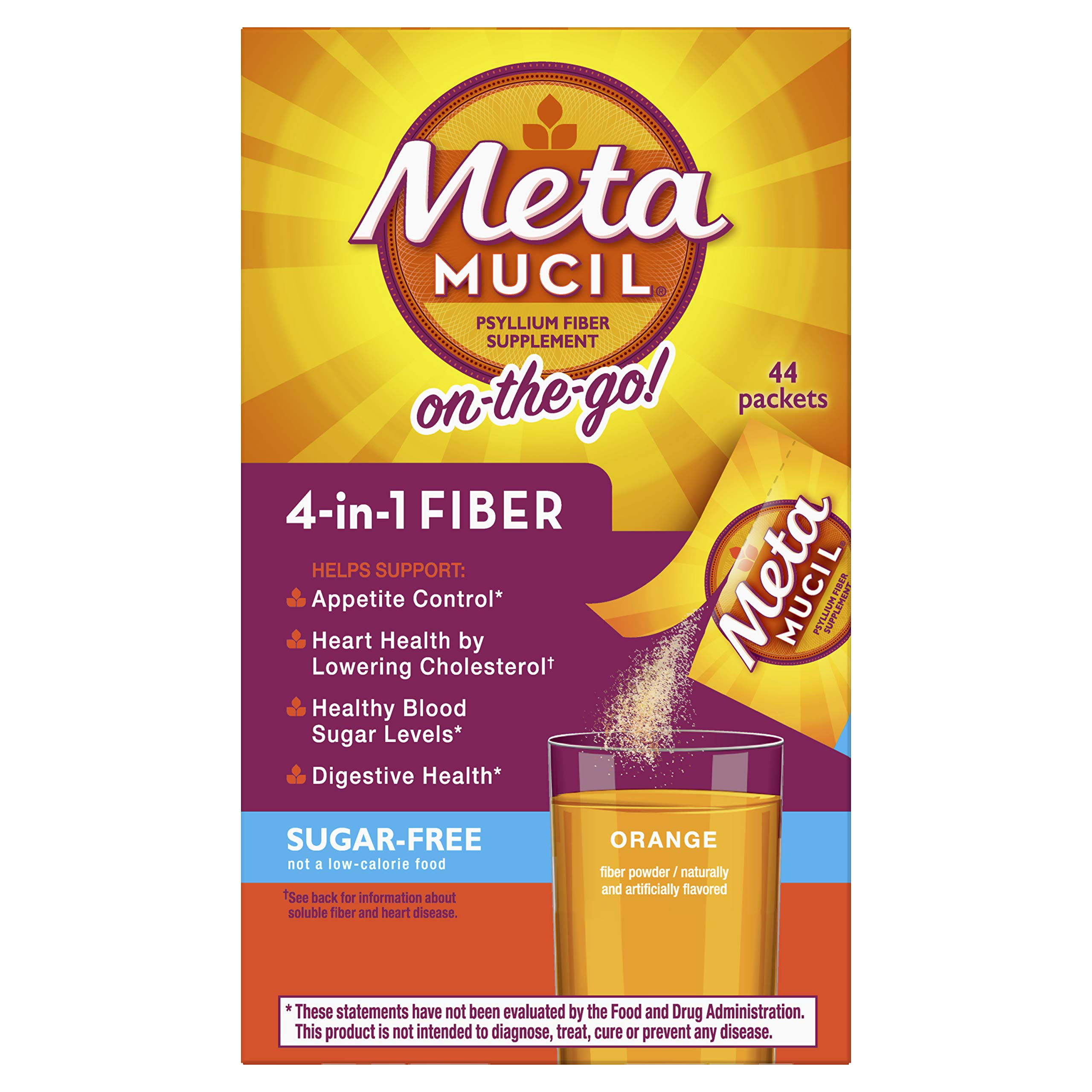 Metamucil Fiber, 4-in-1 Psyllium Fiber Supplement, Sugar-Free Powder Single-Serve Packets, Orange Flavored Drink, 44 Packets (Packaging May Vary)
