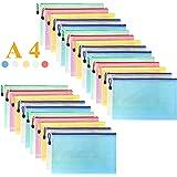 Mesh Zipper Pouch Waterproof Double Plastic Document Organizer Bag Zip File Folders A4 Size for Office School Supplies…