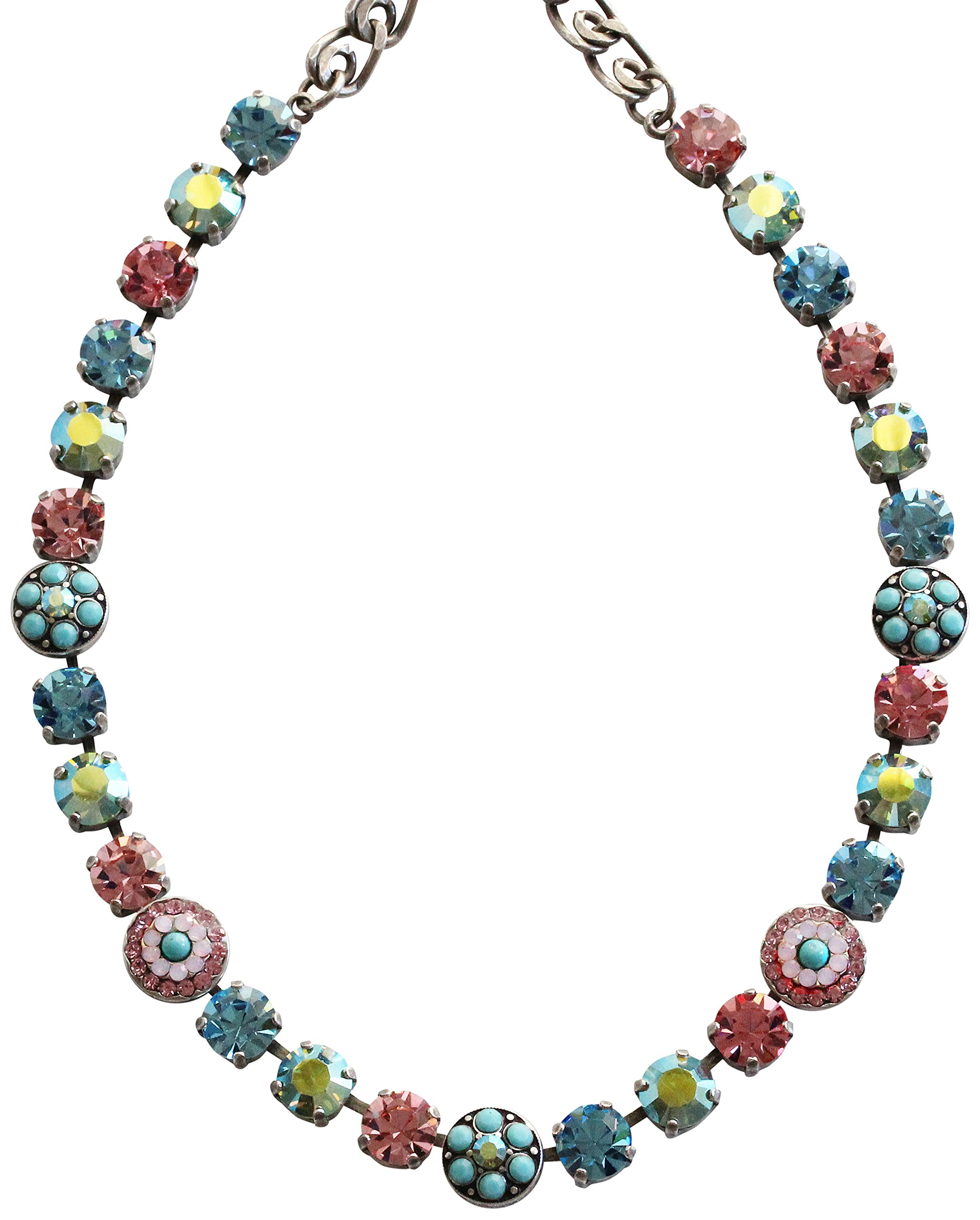 Mariana Silvertone Flower Shapes Crystal Necklace, 16'' ''Summer Fun'' Blue Pink 3044/1 3711