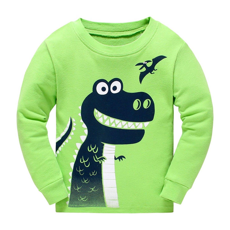 Masonanic Toddler//Kids Boys and Girls Cute Dinosaur Pajama Set 100/% Cotton 2-7 Years Black Dinosaur-Pajamas 2-7T
