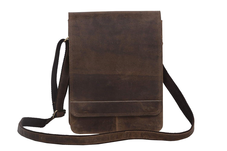 Distressed Tan Flap Komals Passion Leather 11 Inch Sturdy Leather Ipad Messenger Satchel Bag