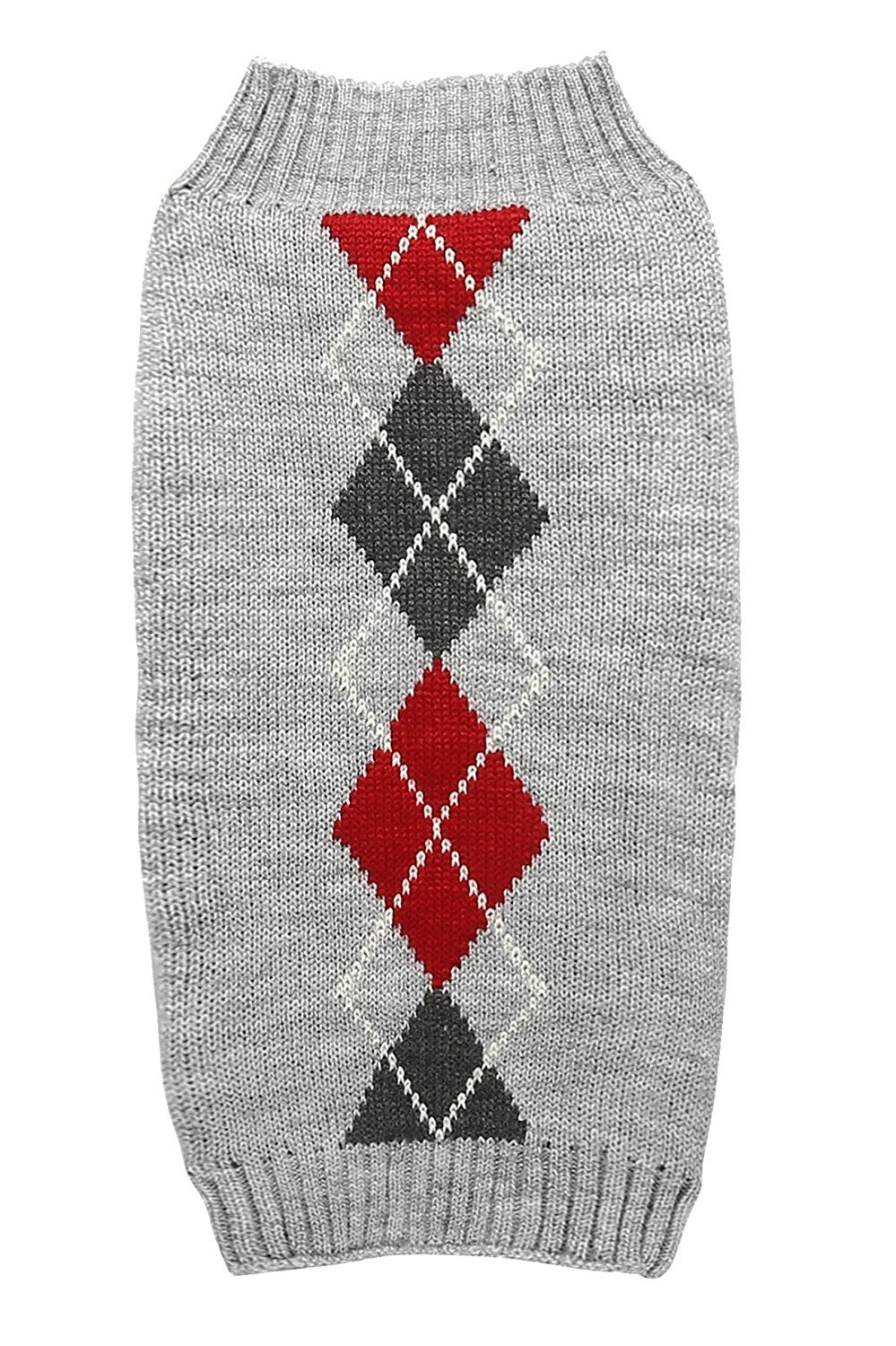 Grey Argyle Knit Pet Sweaters Clothes for Small Dogs, Classic Gray Medium M Back Length 12''
