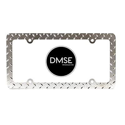 DMSE Heavy Duty Metal Diamond Plate Plated License Plate Frame Cool Decorative Design For Any Vehicle (Chrome): Automotive