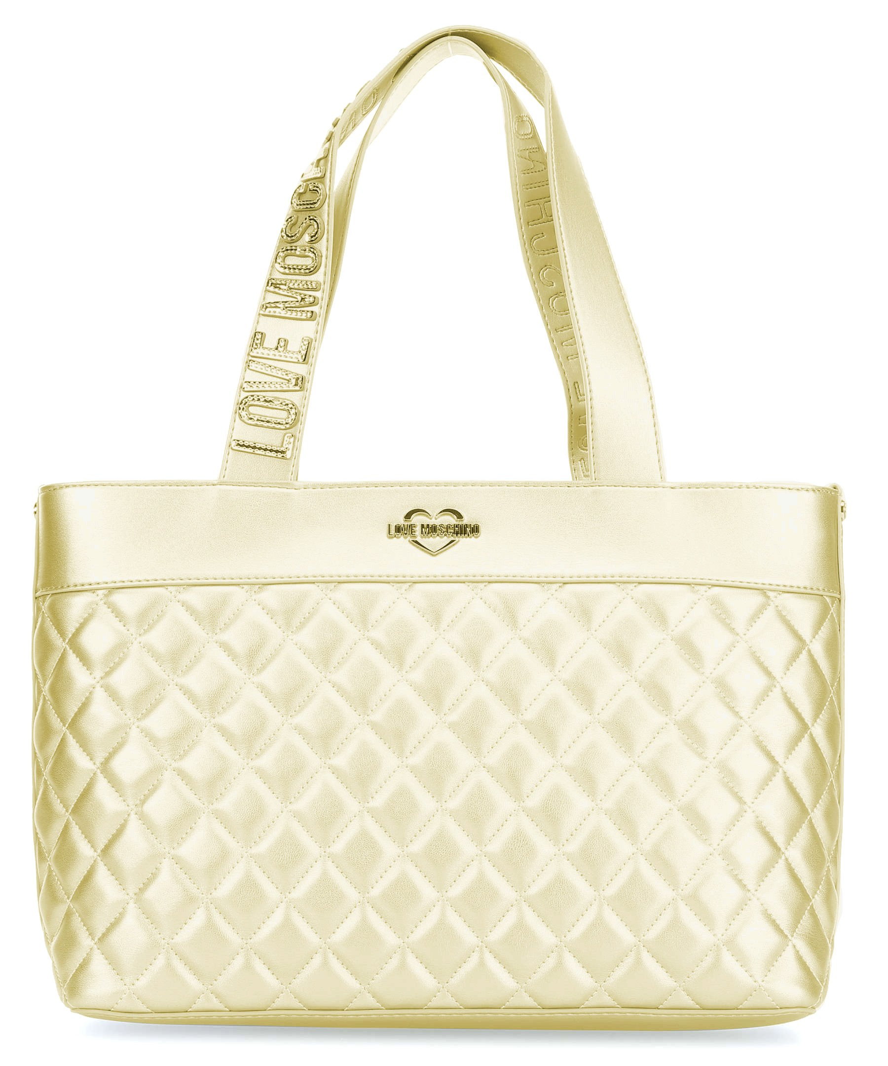 LOVE MOSCHINO Quilted Tote with Gold Metallic Logo Handles, Gold