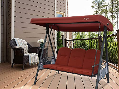 Kozyard Herbert 3 Person Outdoor Duluxe Patio Swing with Thick Comfortable Cushion,Waterproof Winter Rain Cover Terracotta