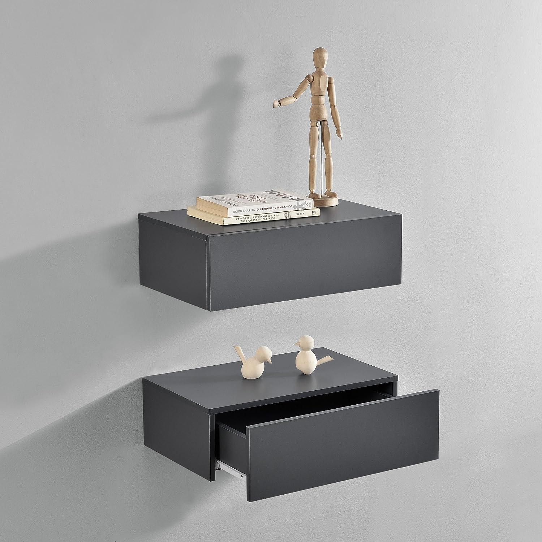 [en.casa] Set de 2 Mesitas de Noche de Pared con cajón - Gris Oscuro - 46x30x15cm