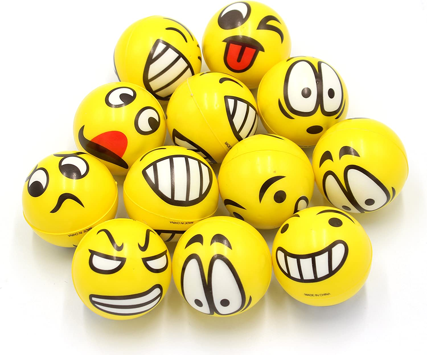 FIVOENDAR 2.5 inch Yellow Kids Adults Favor at School Fun Face Stress Balls Cute Hand Wrist Stress Reliefs Squeeze Balls - School Office Holiday Gift Party Favors (12 Pack)
