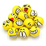 Set of 12 - Fun Face Stress Balls Cute Hand Wrist Stress Reliefs Squeeze Balls for Kids and Adults at School or Office Holiday Gift Party Favors (Yellow Color Random Emotion Faces)