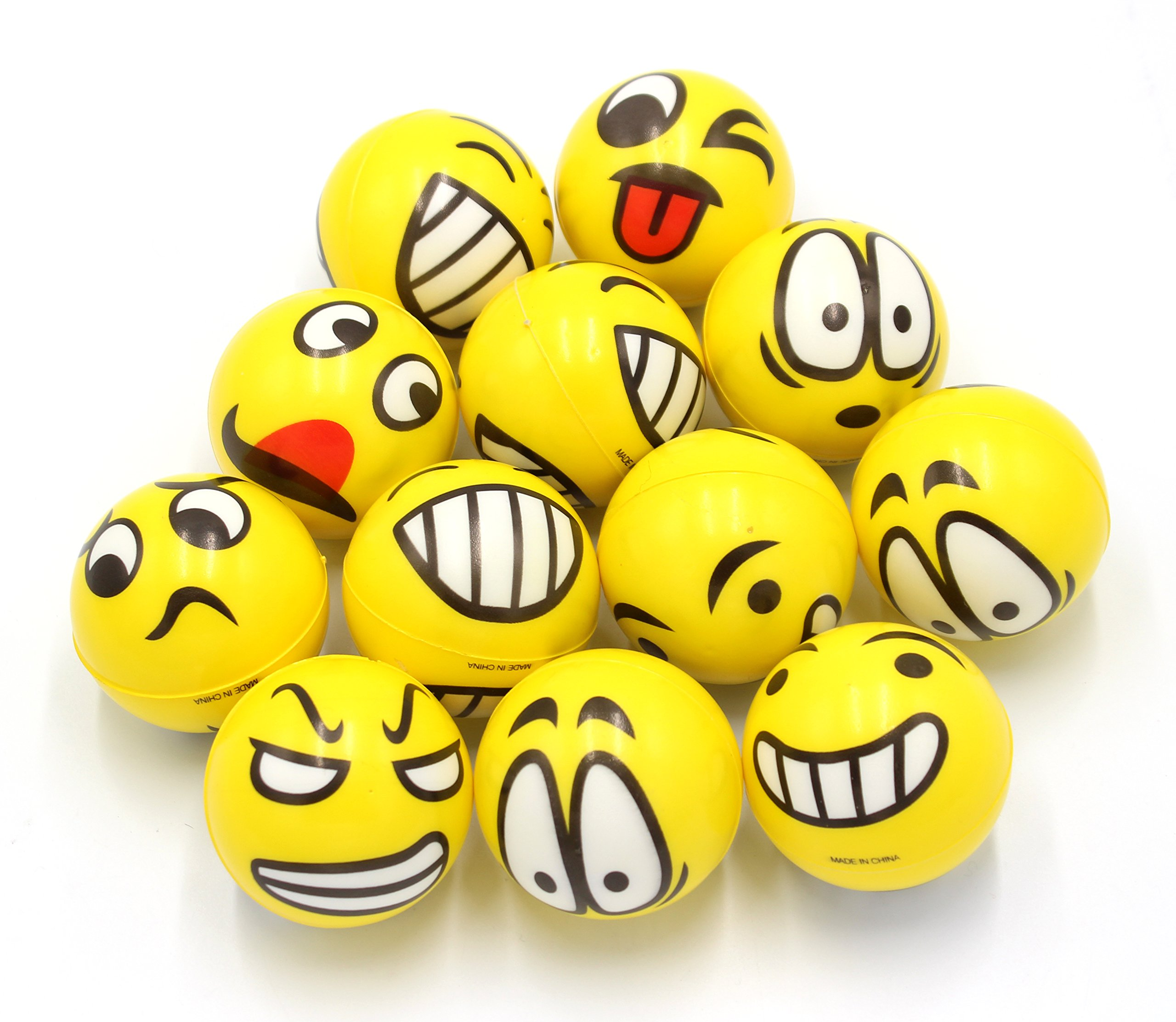 Details about Fun Face Emoji Cute Hand Wrist Stress Reliefs Squeeze Balls  12 Funny Faces