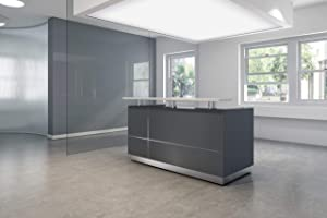 "GW FURNITURE Modern Space Grey Reception Desk (71"") with Quartz Stone Counter TOP"