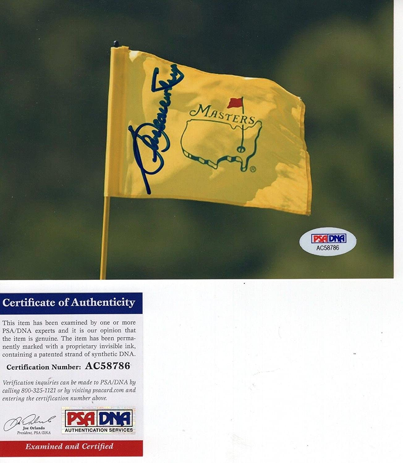 Seve Ballesteros Hand Signed 5x7 Color Photo Masters Flag Psadna
