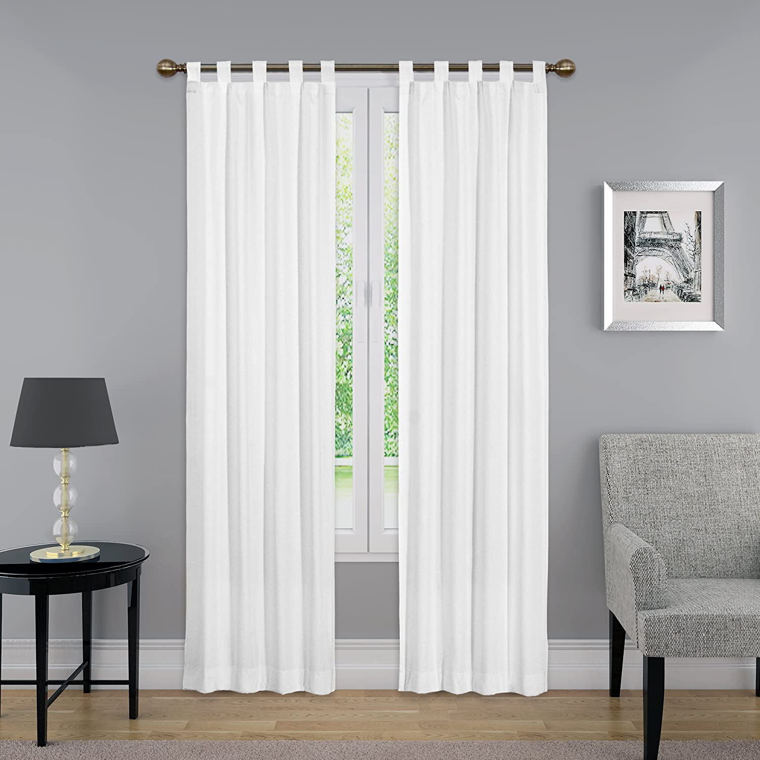 "Pairs to Go Montana (Colorado) Tab Top Curtains for Living Room, Double Panel, 30"" x 63"", White"