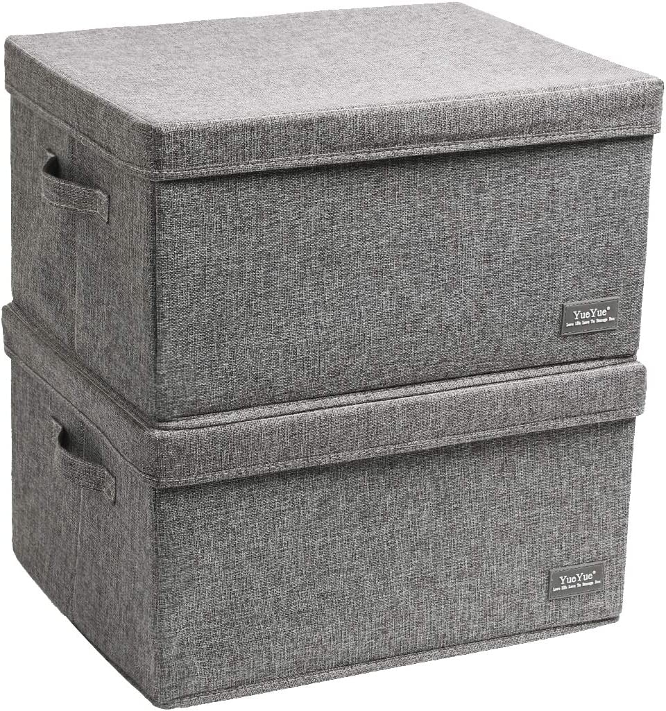 Amazon Com Yueyue Large Fabric Storage Boxes With Lids 2 Pack Foldable Cloth Storage Box Fabric Clothes Container Great For Organizers Bedroom Closet Living Room Grey 17 7 13 8 9 8 Home Kitchen