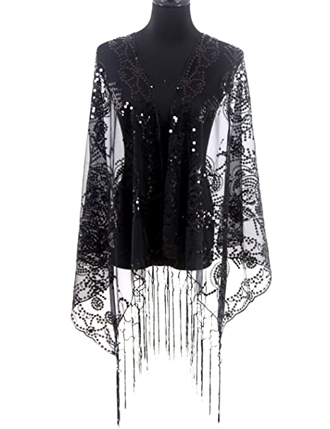 Missshorthair Womens 1920s Scarf Camellia Mesh Sequin Wedding Cape