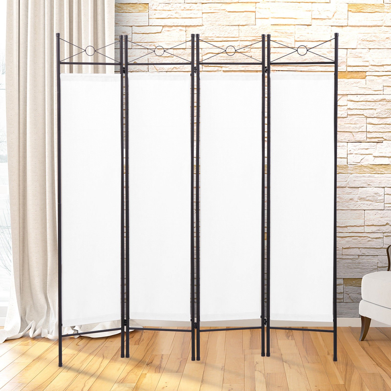 LAZYMOON White Room Divider 4-Panel Steel Screen Fabric Folding Partition Home Office Privacy Screen