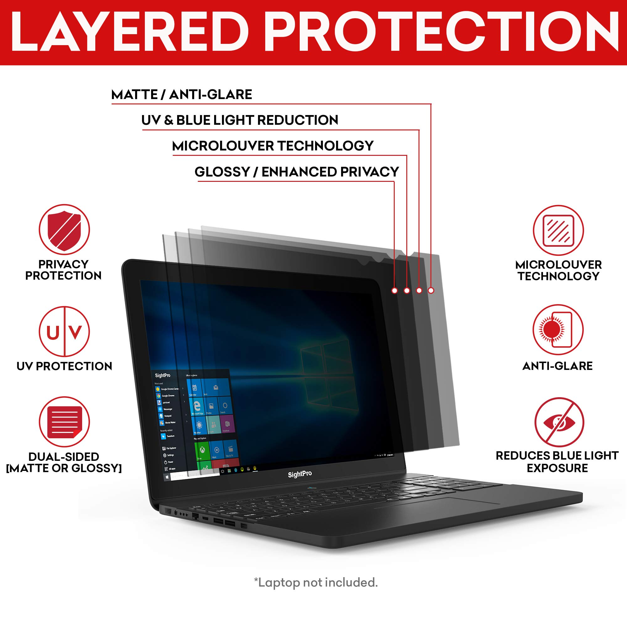 Privacy Protector for SightPro 15.6 inch Laptop Privacy Screen Filter Black