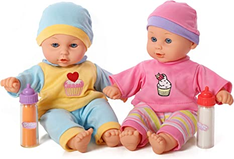 Mommy and Me 12 Inch Twin Baby Dolls, Soft Body Baby Doll with Milk and Juice Bottles