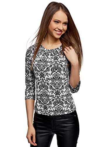 oodji Collection Mujer Blusa Estampada de Manga 3/4