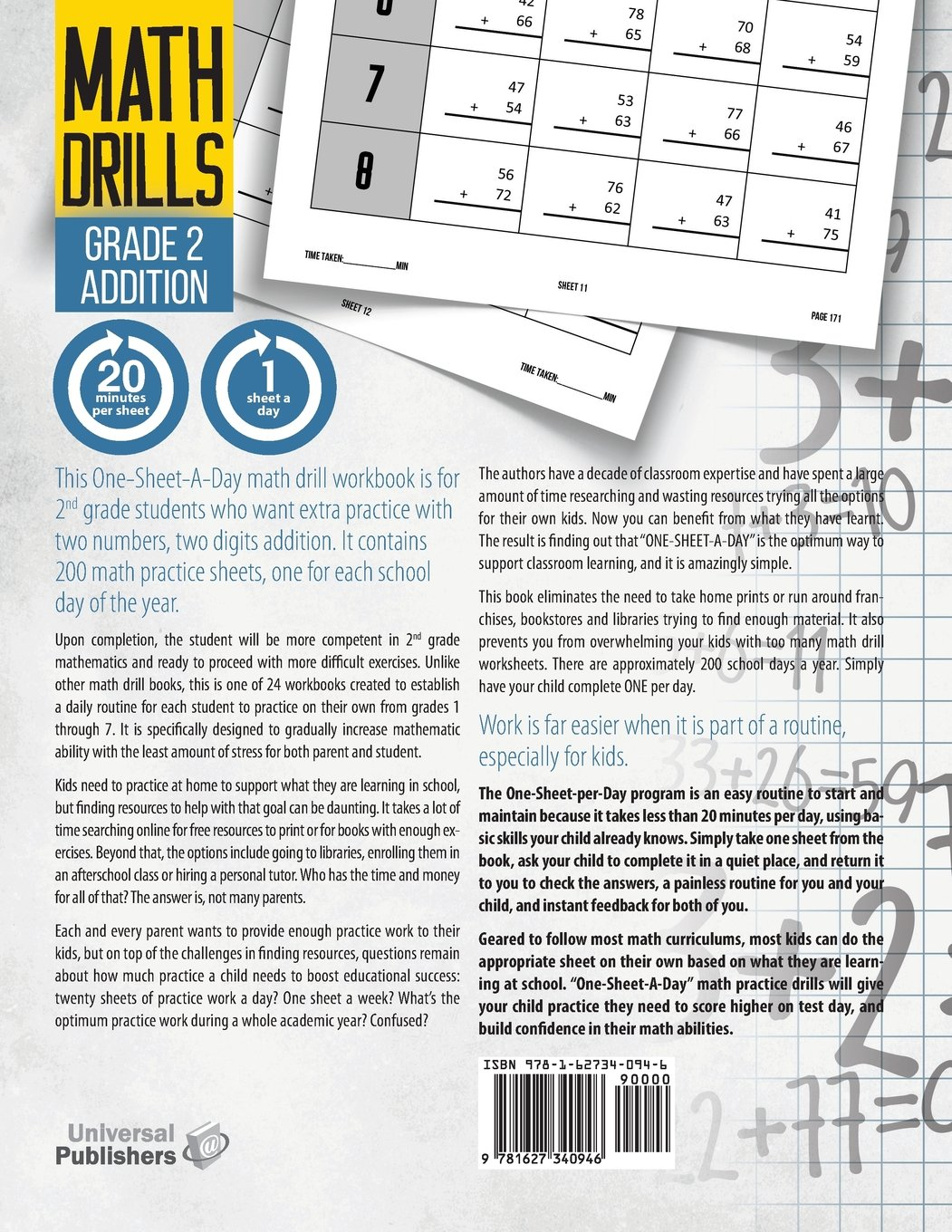Buy One-Sheet-A-Day Math Drills: Grade 2 Addition - 200 Worksheets ...