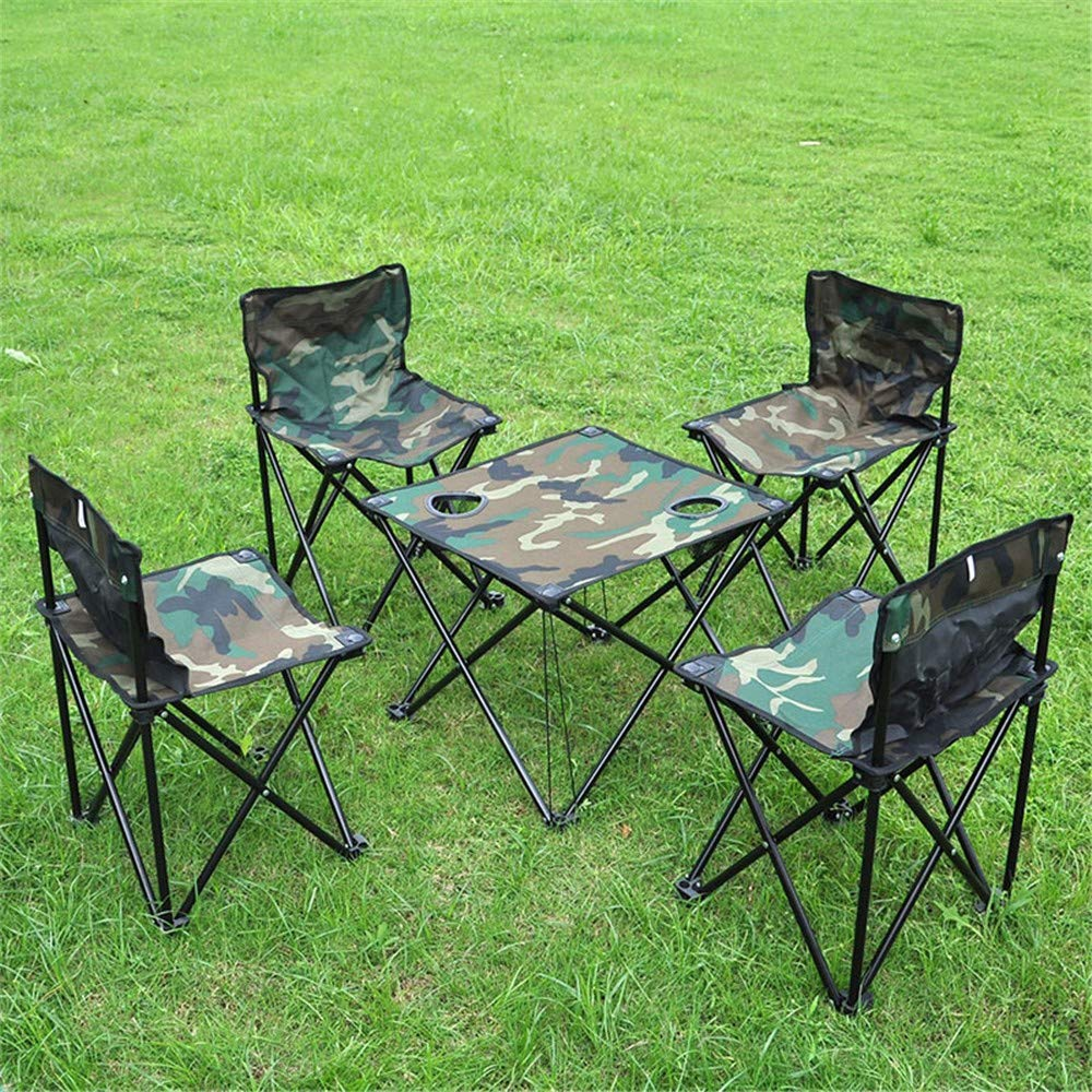 MM&KK Portable Camouflage Strand Stuhl Set Outdoor Tisch und Stuhl Set von fünf Klapp Freizeit Camping Strandkorb