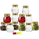 12 Piece, 8.5 Ounce Glass Decorative Mason Jar for Canning / Storing with Airtight Gold Metal Lid, - Bundled With Cloth