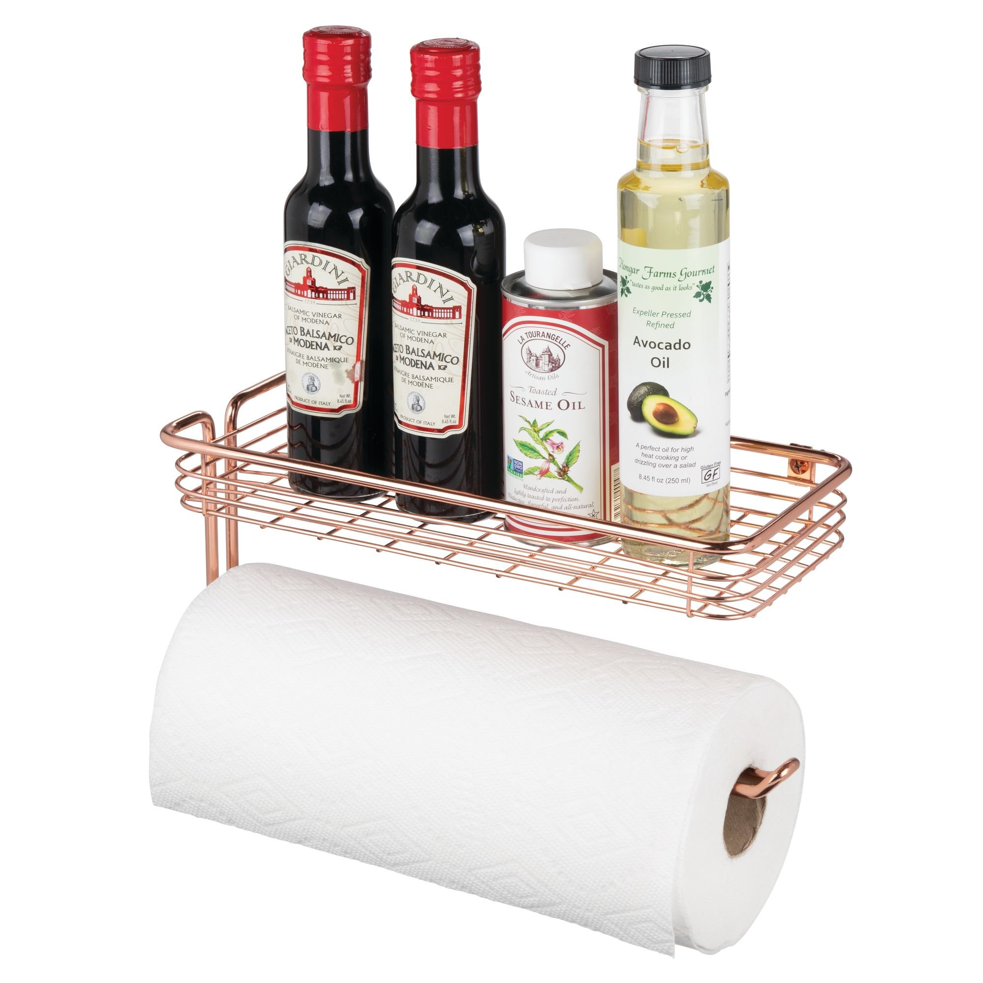 mDesign Paper Towel Holder with Spice Rack and Multi-Purpose Shelf - Wall Mount Storage Organizer for Kitchen, Pantry, Laundry, Garage - Durable Steel Wire Design, Rose Gold