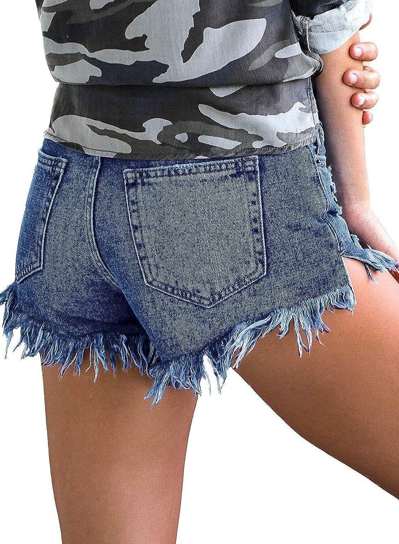 LookbookStore Womens Mid Rise Frayed Ripped Raw Hem Denim Jean Shorts