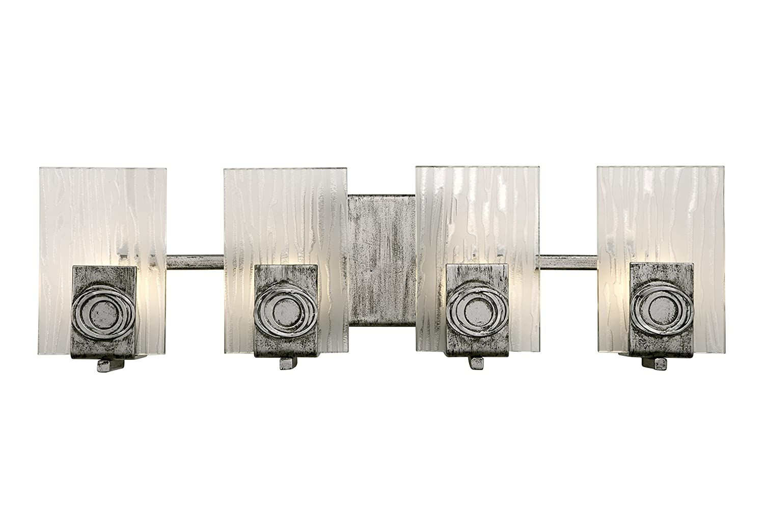 Varaluz 182B04 Polar 4-Light Vanity – Blackened Silver Finish with Ice Crystal Recycled Glass