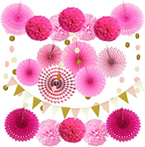 ZERODECO Party Decoration, 21 Pcs Pink Hanging Paper Fans, Pom Poms Flowers, Garlands String Polka Dot and Triangle Bunting Flags for Birthday Parties, Bridal Showers, Baby Showers, Wedding